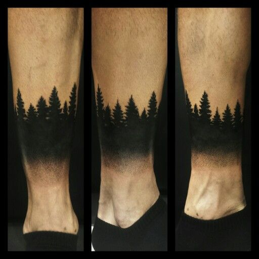 Awesome Dark Shaded Black Ink Forest Tree Tattoo Design Idea For Leg