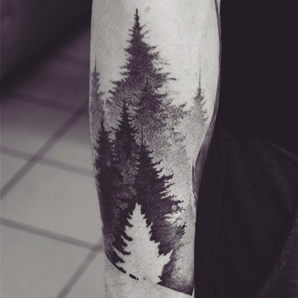 Awesome Nice One More Forest Tree Dotwork Tattoo