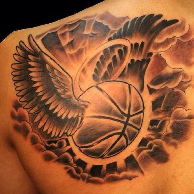 basketball in wings tattoo design in cloud. Black Bedroom Furniture Sets. Home Design Ideas