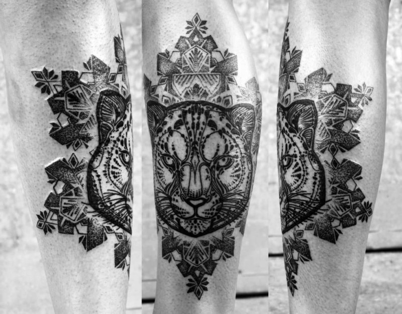 Beautiful Mandala Flower With Nice Puma Head Tattoo