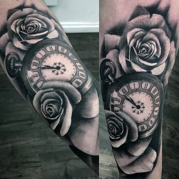 beautiful rose and simple pocket clock tattoo