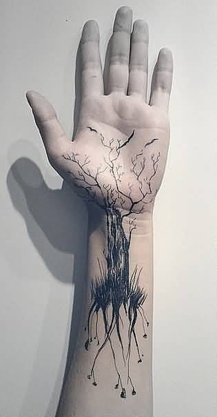 Big Realistic 3D Forest Tree Tattoo Design For Sleeve To Wrist
