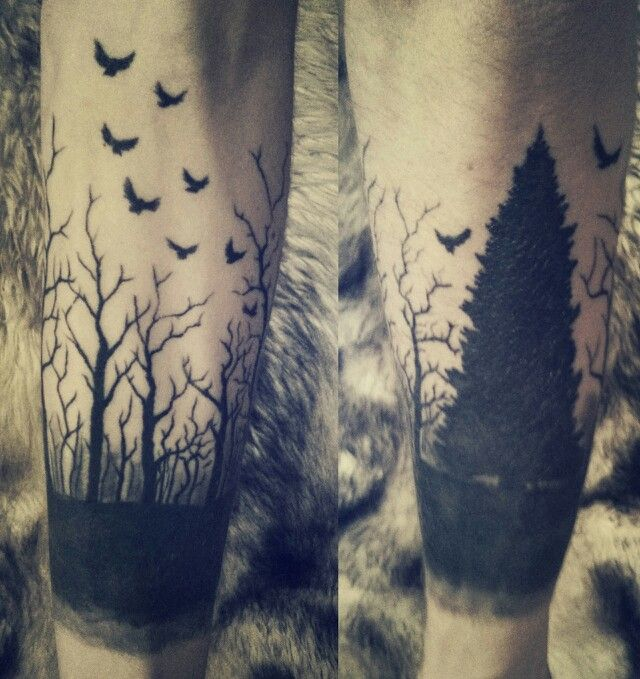 Black Flying Birds And Cool Forest Tree Tattoo