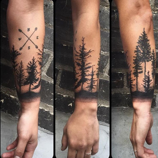 Black Ink Forest Tree Tattoo Design For Lower Arm