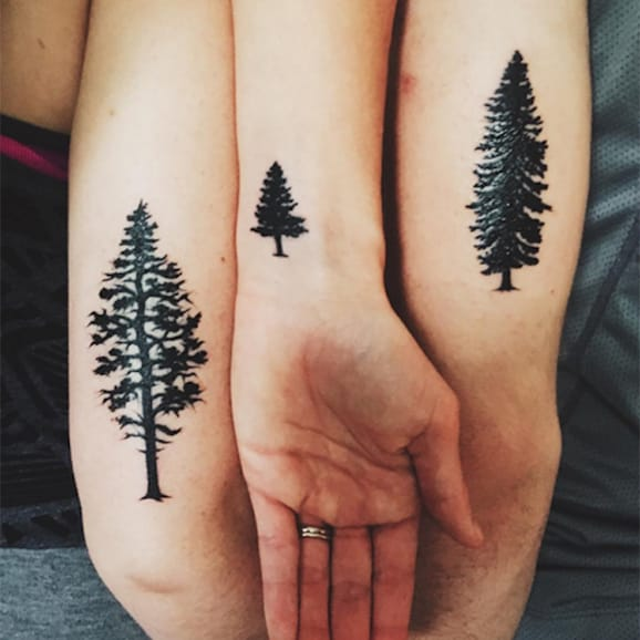 Black Ink Simple Brother Sister Christmas Tree Tattoo