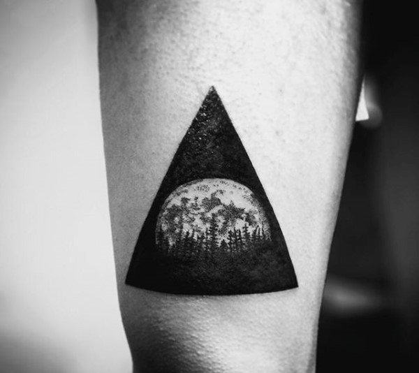 Black Triangle Forest Tree With Moon Tattoo