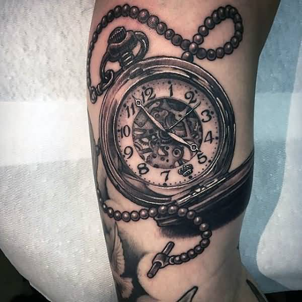 wonderful simple pocket clock tattoo design image. Black Bedroom Furniture Sets. Home Design Ideas