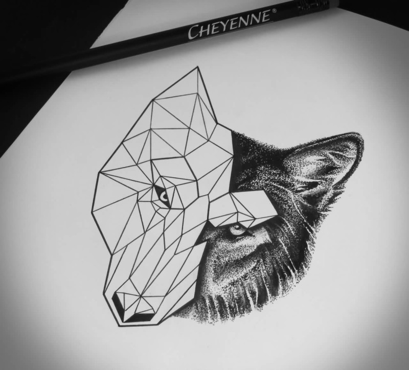 Classy Cool Geometric Angry Wolf Tattoo Stencil Design