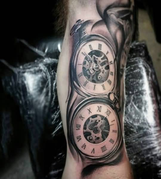 chain classy pocket watch tattoo design for men. Black Bedroom Furniture Sets. Home Design Ideas