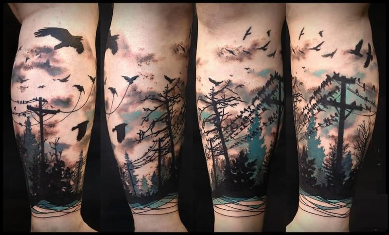 Colorful Cool Flying Birds And Forest Tree Tattoo On Leg