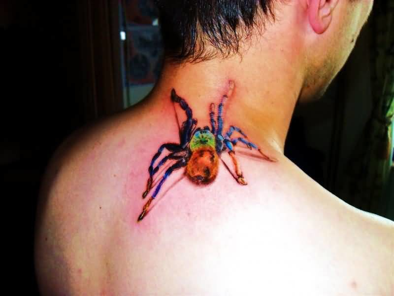 Colorful Spider Insect Tattoo Design For Back Neck