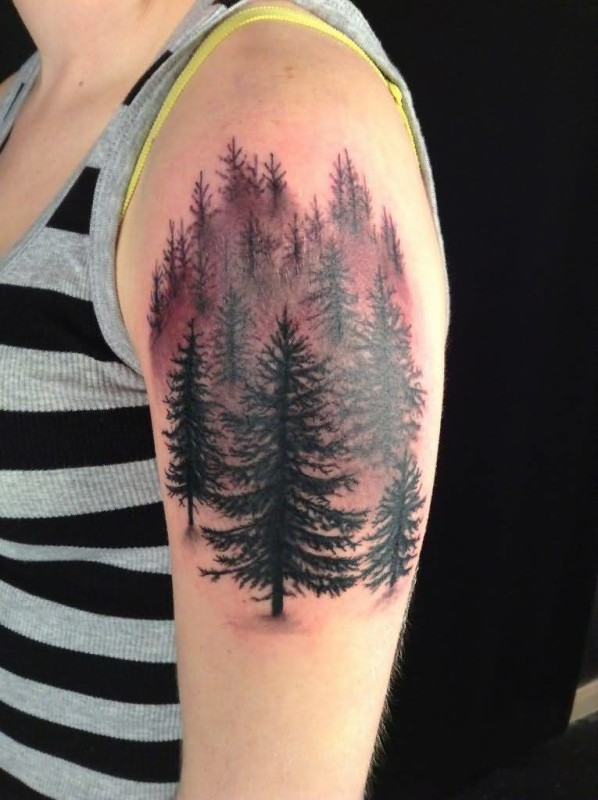 Cool And Nice Girl Sleeve Coiol Forest Tree Tattoo