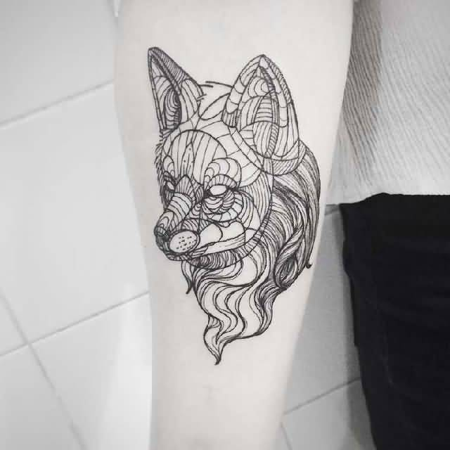 Dangerous Classy Geometric Wolf Face Tattoo On Arm