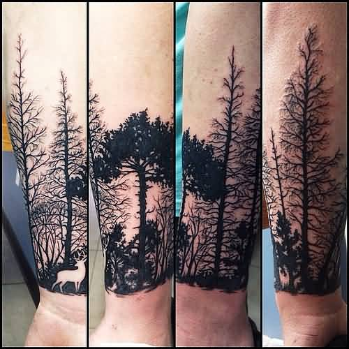 Deer In Forest Tree Tattoo On Forearm