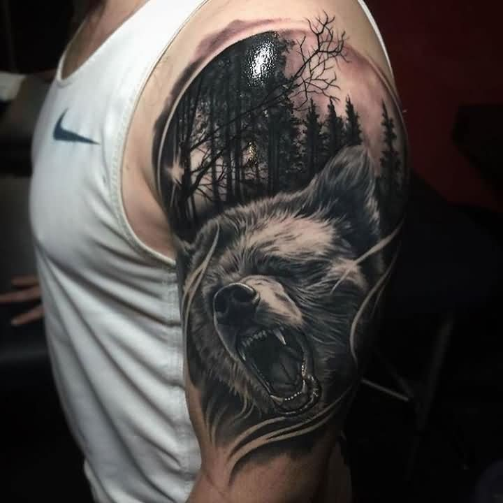 Fantastic 3D Nice Wild Angry Forest Wolf Tattoo On Shoulder