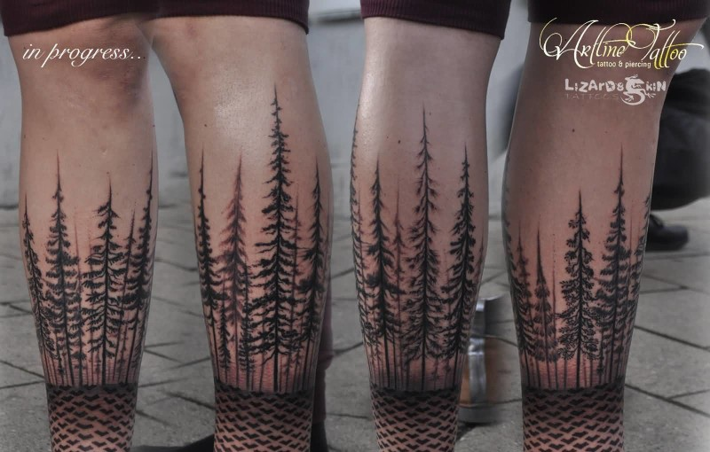 Fantastic Big Tree And Dotwork Forest Side Leg Tattoo