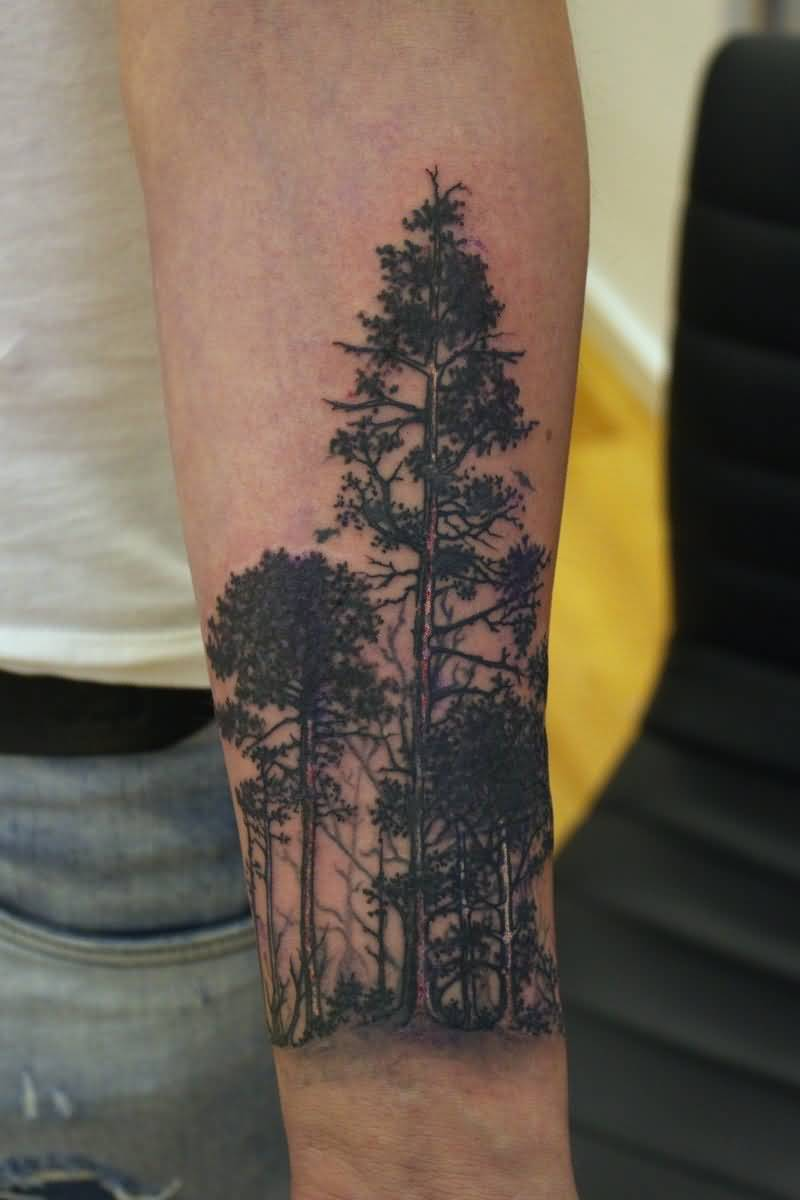 fantastic simple forest forearm tattoo for men. Black Bedroom Furniture Sets. Home Design Ideas