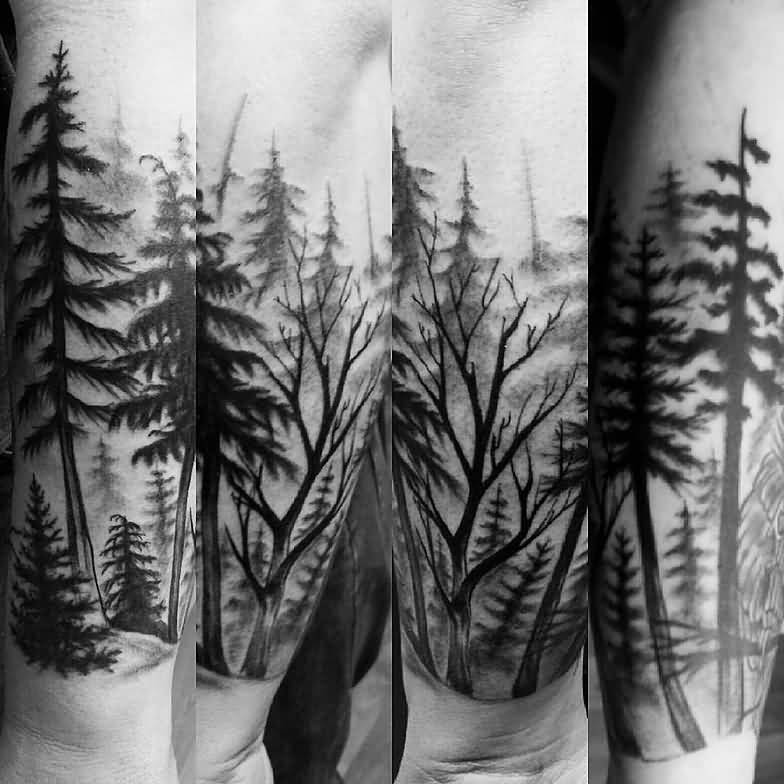 Fantastic Simple Forest Tattoo Design