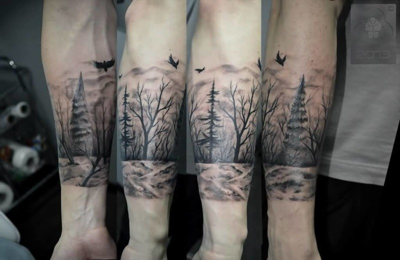 Flying Nice Birds With Forest Tree Tattoo Design