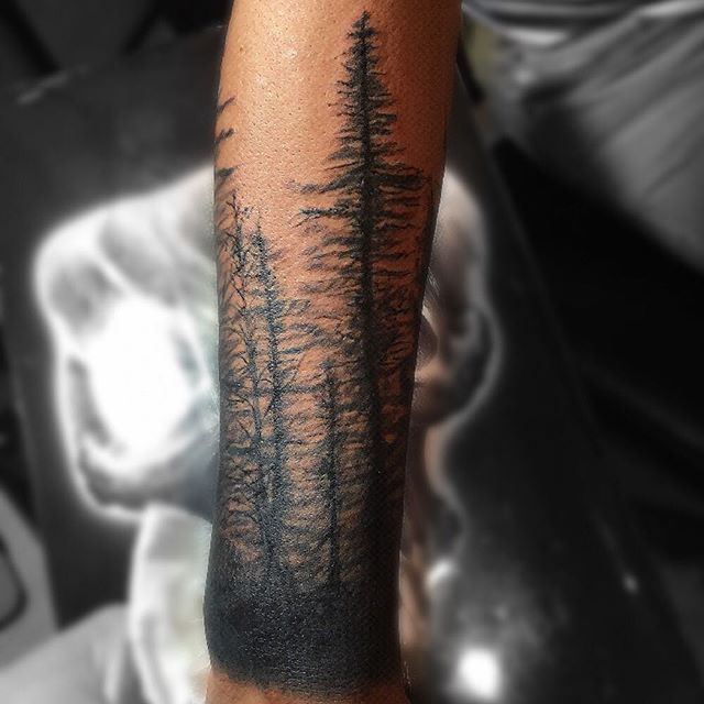 Forest Tree Tattoo Cover Up Men Lower Arm