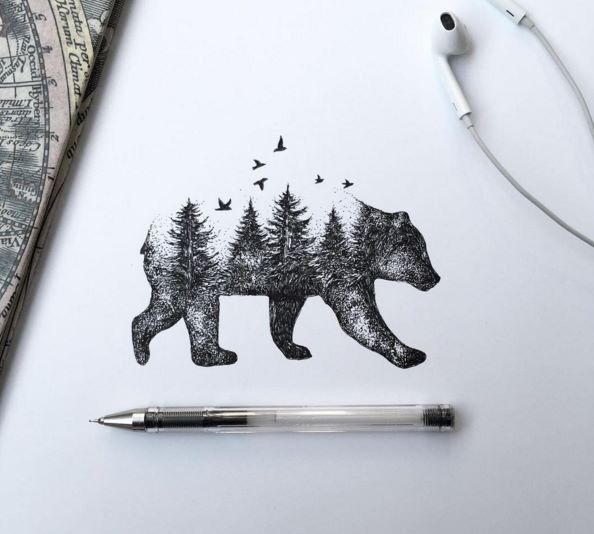 Forest Tree View In Running Bear Tattoo Stencil On Paper