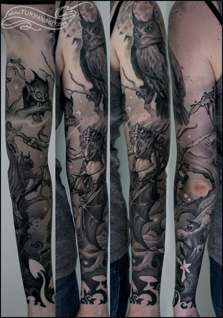 Full Sleeve Forest Simple Tattoo Design Photo