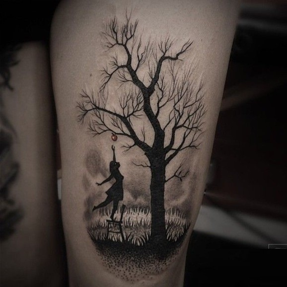 Girl Jump From Chair And Hold To Catch Apple From Forest Tree Tattoo On Thigh