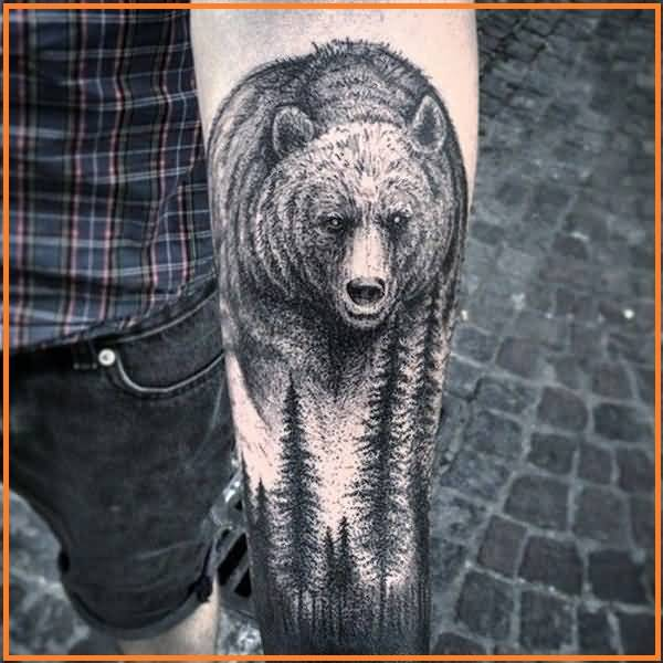 Inner Lower Arm Cool Forest Walking Bear  With Tree Tattoo