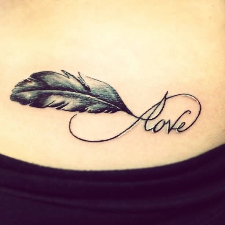 Lovely Feather And Cool Love Infinity Tattoo
