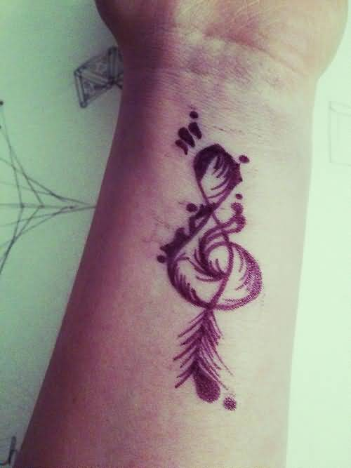Lovely Feather With Amazing Music Note Infinity Tattoo