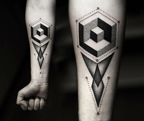 Lower Sleeve Geometric Nice Arrow Tattoo