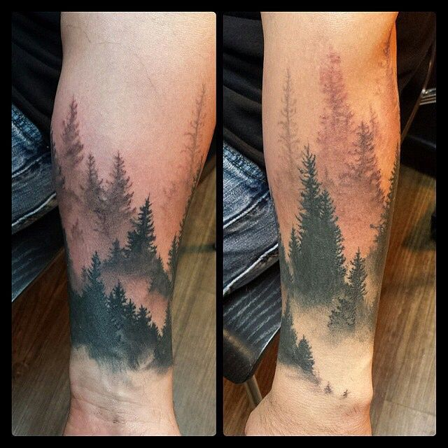 Men Lower Arm Cool Forest Tattoo