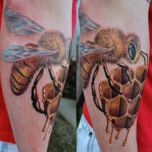 Men Lower Sleeve Honey Bee Tattoo