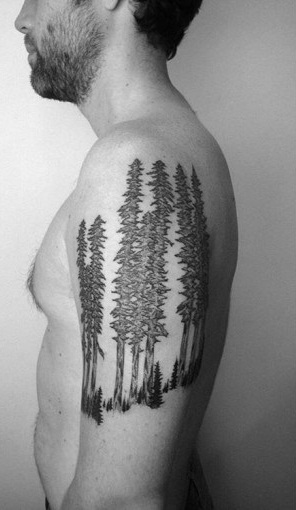 Men Shoulder Grey Ink Forest Tree Tattoo Design Idea