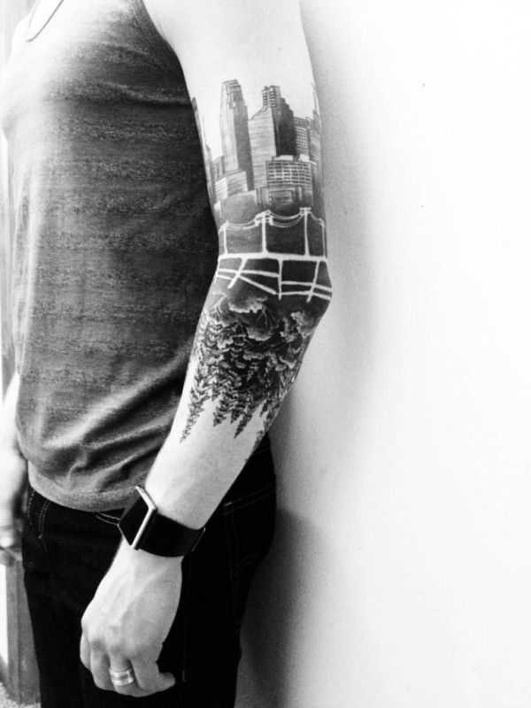 Men Show Left Sleeve Cool Classy Forest Tree Tattoo