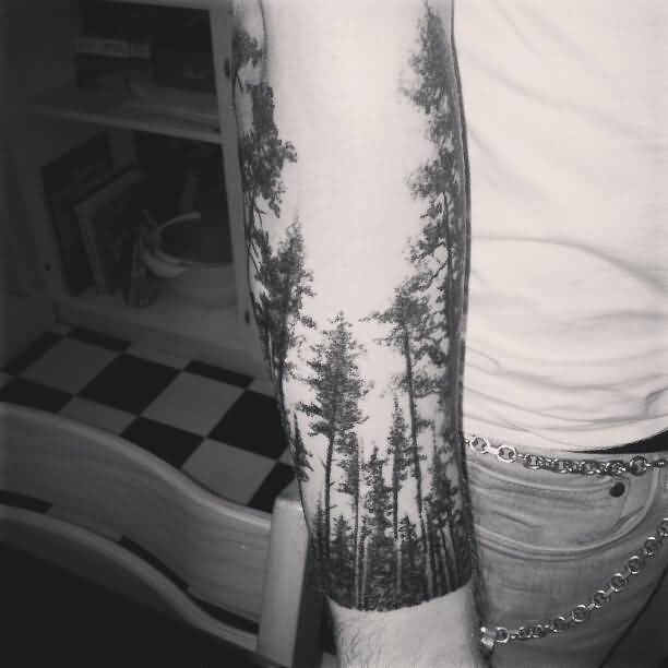 ceade50a9 Men Showing Her Lower Arm Forest Tree Tattoo · Forest Tree Tattoo Cover Up  ...