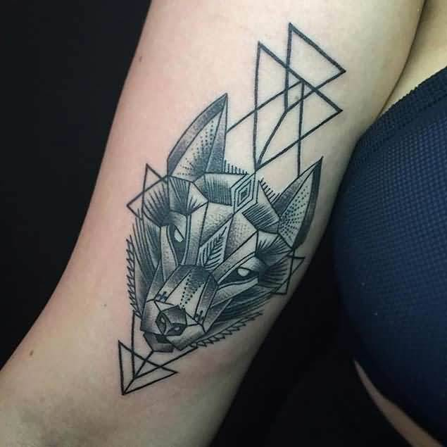 Nice Amazing Geometric Wolf And Arrow Tattoo For Hot Girl