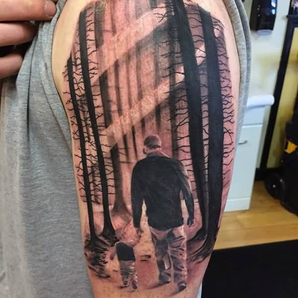 Responsible Father With Son And See Forest View Tattoo On Shoulder