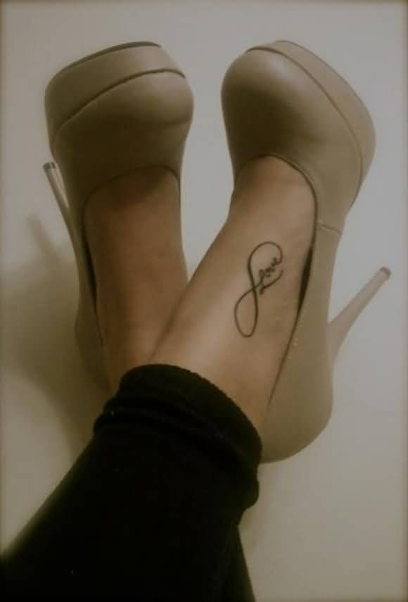 Nice Love Infinity Tattoo On Womens Foot Tattooshunter