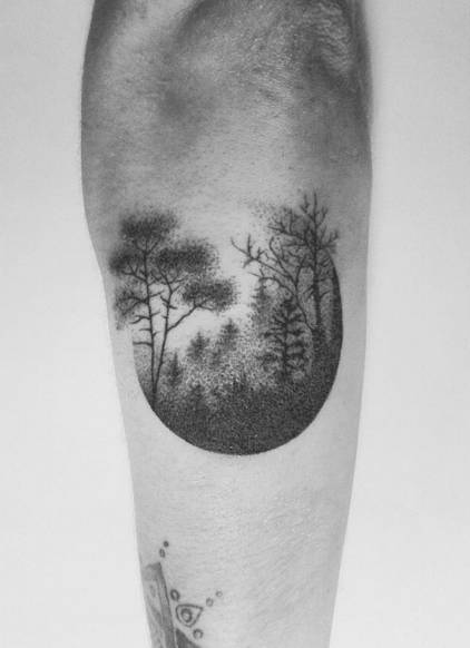 Nice One Moon Dotwork Forest Tattoo