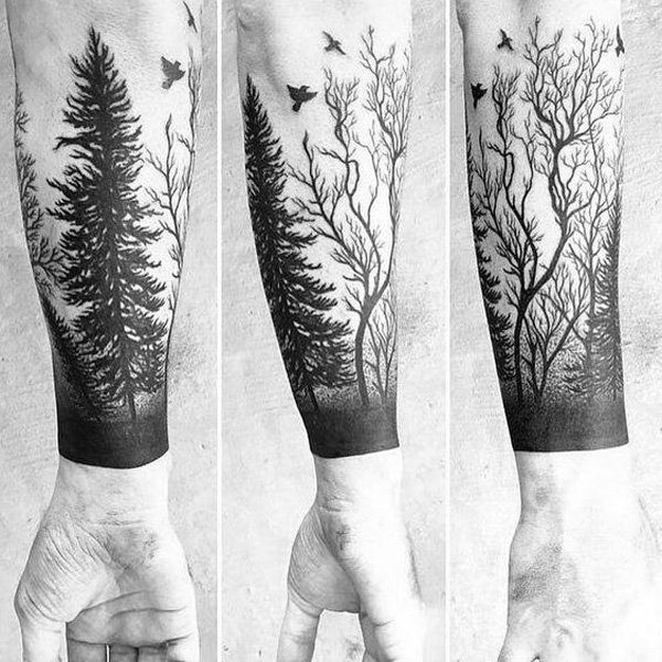 Nice One More Forest Tree Tattoo On Lower Sleeve
