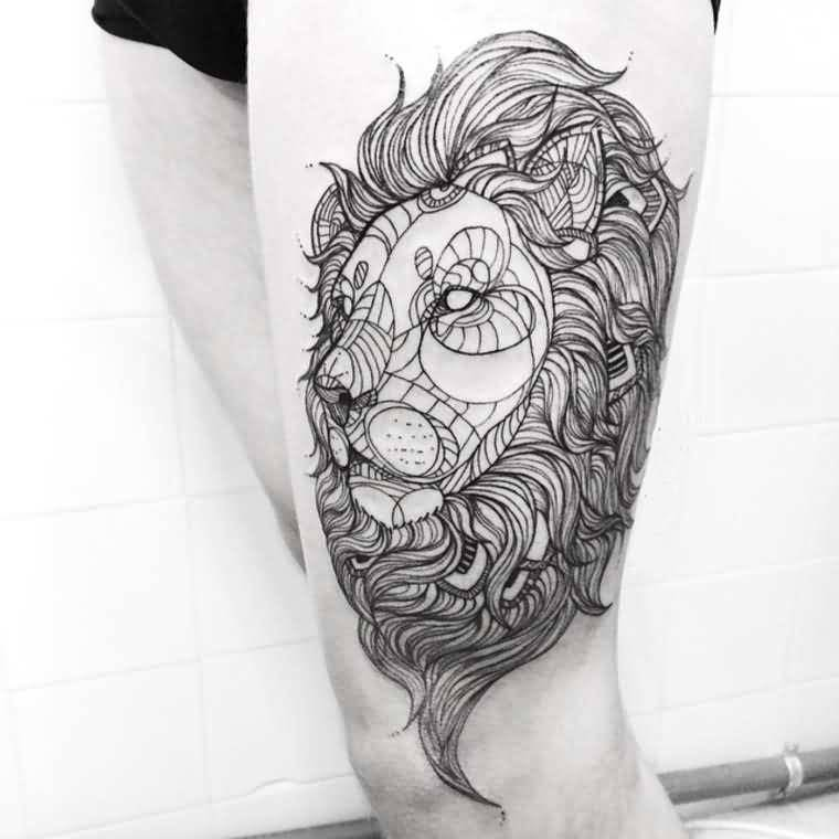 Outline Ink Geometric Lion Face Tattoo On Thigh