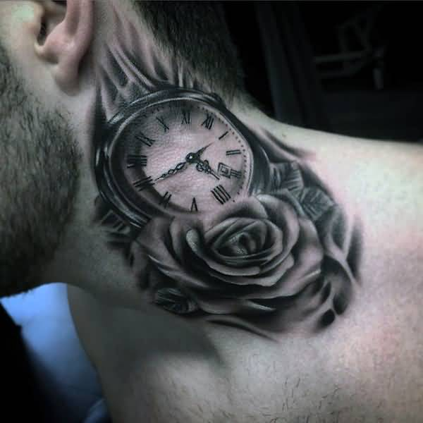 Outstanding Awesome Pocket Watch With Real Rose Tattoo