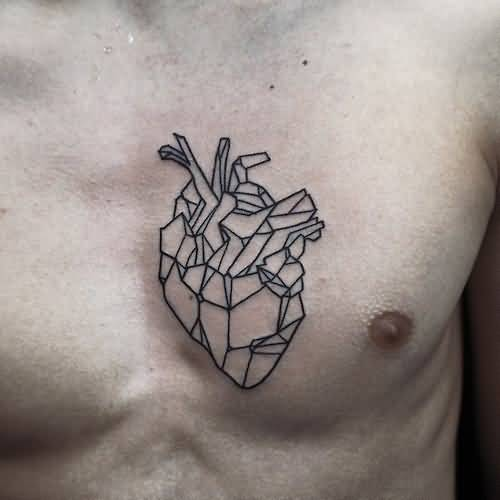 Outstanding Geometric Heart Cover Up Men Chest Tattoo