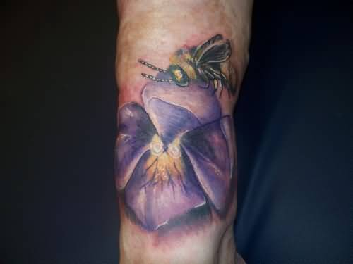 Purple Flower With Insect Tattoo  Design For Sleeve