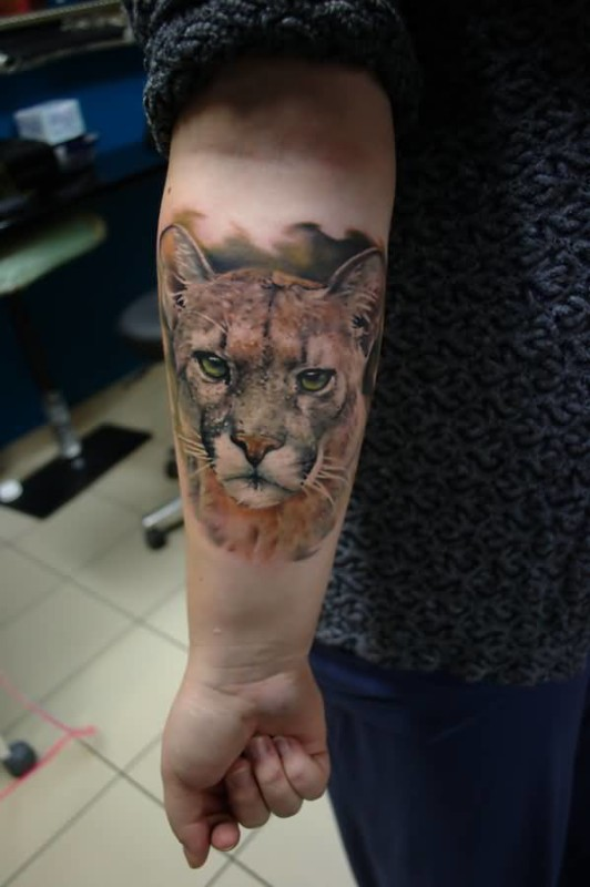 Realistic 3D Sad Puma Face Tattoo On Lower Sleeve Made By Sass Tattoo