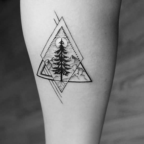 Realistic Geometric Tree Tattoo Design