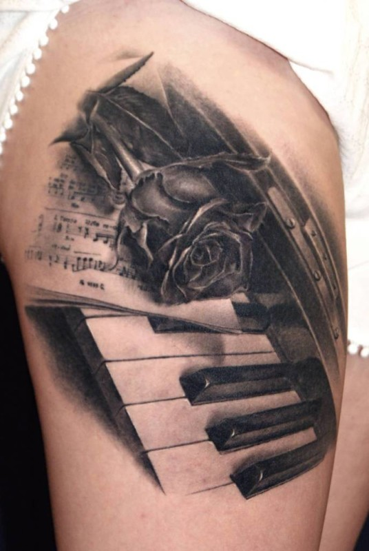 Realistic Rose With Piano Keys Tattoo On Thigh