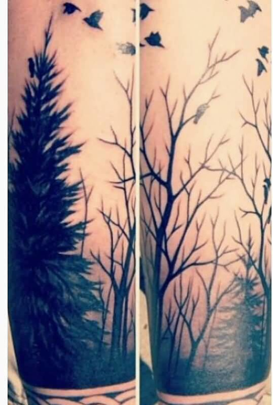 Simple And Nice Flying Bird And Forest Tree Tattoo