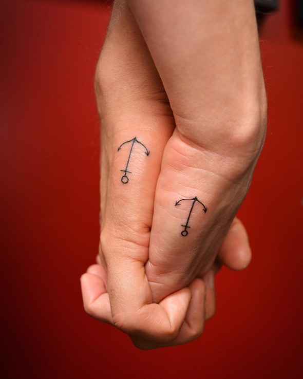 Simple Brother Sister Anchor Tattoo Design On Side Hand